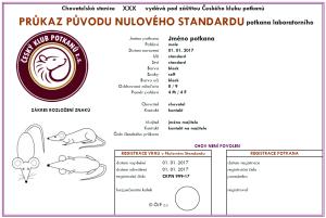 Vzhled průkazu původu nulového standardu